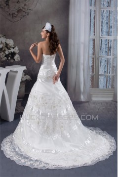Sleeveless Satin Lace A-Line Strapless Beautiful Wedding Dresses 2030937