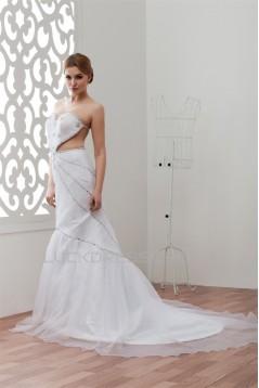 Sleeveless Satin Lace Organza A-Line Sweetheart Beaded Wedding Dresses 2030939