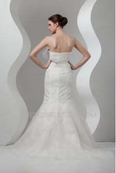 Sleeveless Satin Lace Organza Mermaid/Trumpet Beaded Wedding Dresses 2030940
