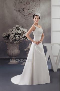 Sleeveless Satin One-Shoulder A-Line Beaded Wedding Dresses 2030941