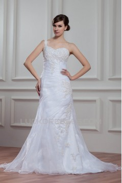 Sleeveless Satin Organza Mermaid/Trumpet Beaded Wedding Dresses 2030942