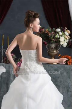Sleeveless Satin Satin Organza Sweetheart Lace Wedding Dresses 2030943