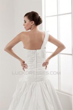 Sleeveless Satin Taffeta A-Line One-Shoulder Wedding Dresses 2030945