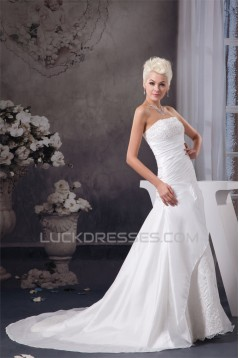 A-Line Strapless Sleeveless Satin Taffeta Wedding Dresses 2030946