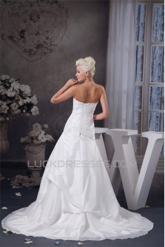 A-Line Strapless Sleeveless Lace Wedding Dresses 2030947