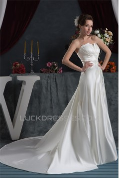 Sleeveless Satin Taffeta Strapless A-Line Sweet Wedding Dresses 2030949
