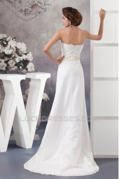 Sheath/Column Strapless Sweep Train Beaded Lace Wedding Dresses 2030950
