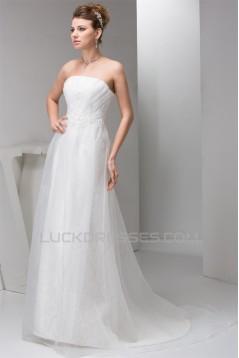 Sleeveless Sheath/Column Strapless Satin Lace Sweet Wedding Dresses 2030952