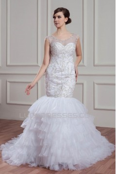 Sleeveless Sheer Mermaid/Trumpet Satin Organza Wedding Dresses 2030953