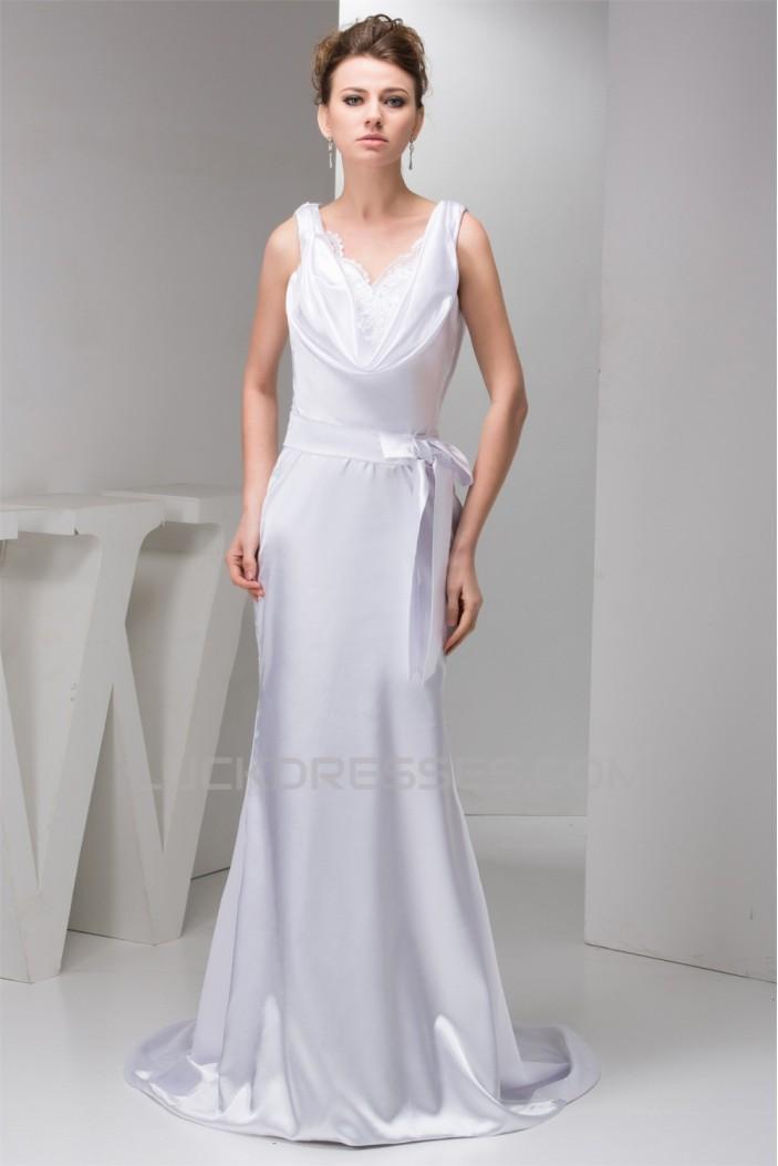 Trumpet/Mermaid Sleeveless Silk like Satin V-Neck Wedding Dresses 2030955
