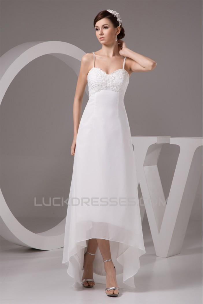 Sleeveless Spaghetti Straps Chiffon Reception Wedding Dresses 2030959