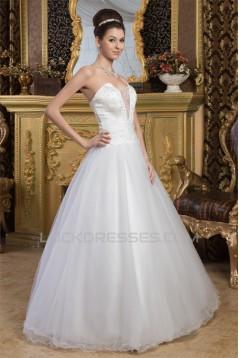 Sleeveless Strapless A-Line Satin Fine Netting Beaded Wedding Dresses 2030960