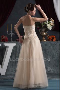 A-Line Sleeveless Strapless Satin Fine Netting Lace Floor-Length Wedding Dresses 2030961