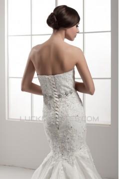 Sleeveless Strapless Satin Mermaid/Trumpet Beaded Lace Wedding Dresses 2030965
