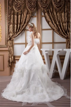 Sleeveless Strapless Satin Organza A-Line Wedding Dresses 2030966