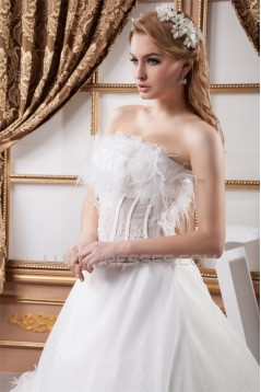 Sleeveless Strapless Satin Organza A-Line Wedding Dresses 2030966