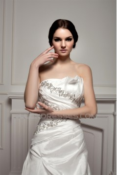Sleeveless Strapless Satin Taffeta A-Line Beaded Wedding Dresses 2030967
