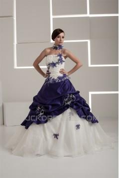 Sleeveless Strapless Satin Taffeta A-Line Wedding Dresses 2030968