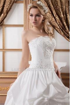 Sleeveless Strapless Satin Taffeta Ball Gown Lace Wedding Dresses 2030969