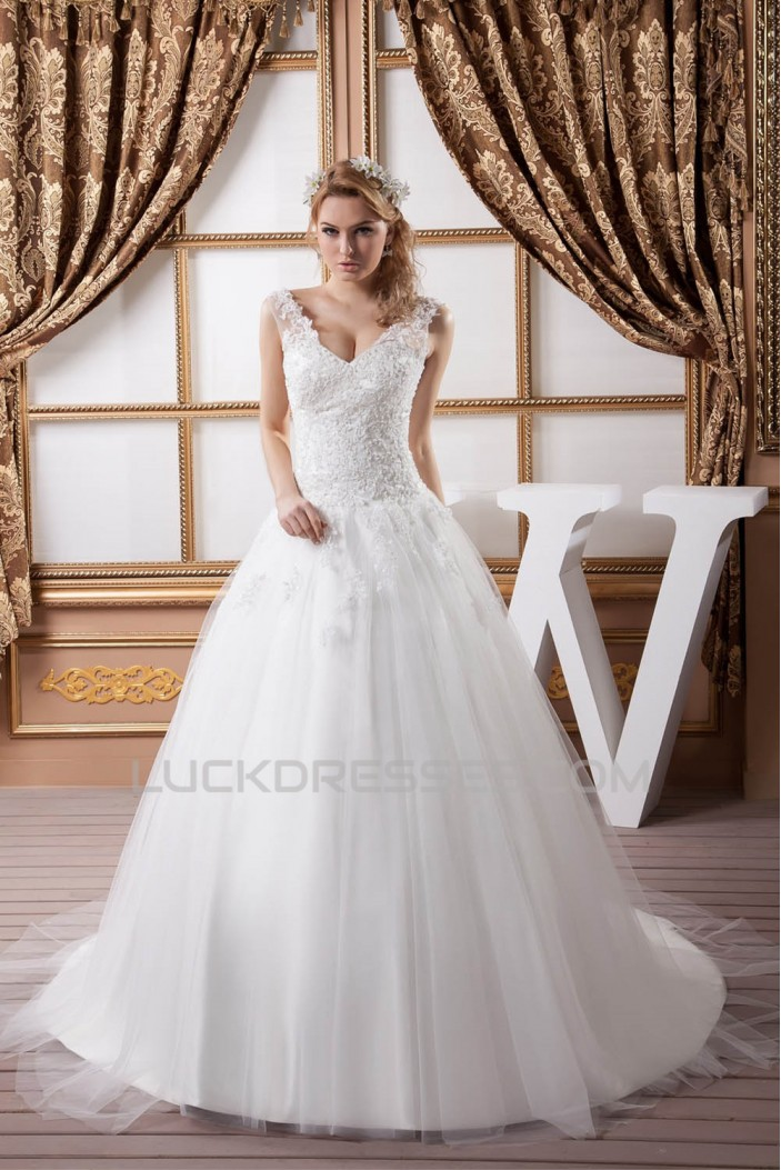 Elegant Sleeveless Straps A-Line Satin Fine Netting Lace Wedding Dresses 2030970