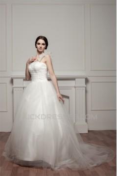 Sleeveless Straps Satin Fine Netting Netting Wedding Dresses 2030971