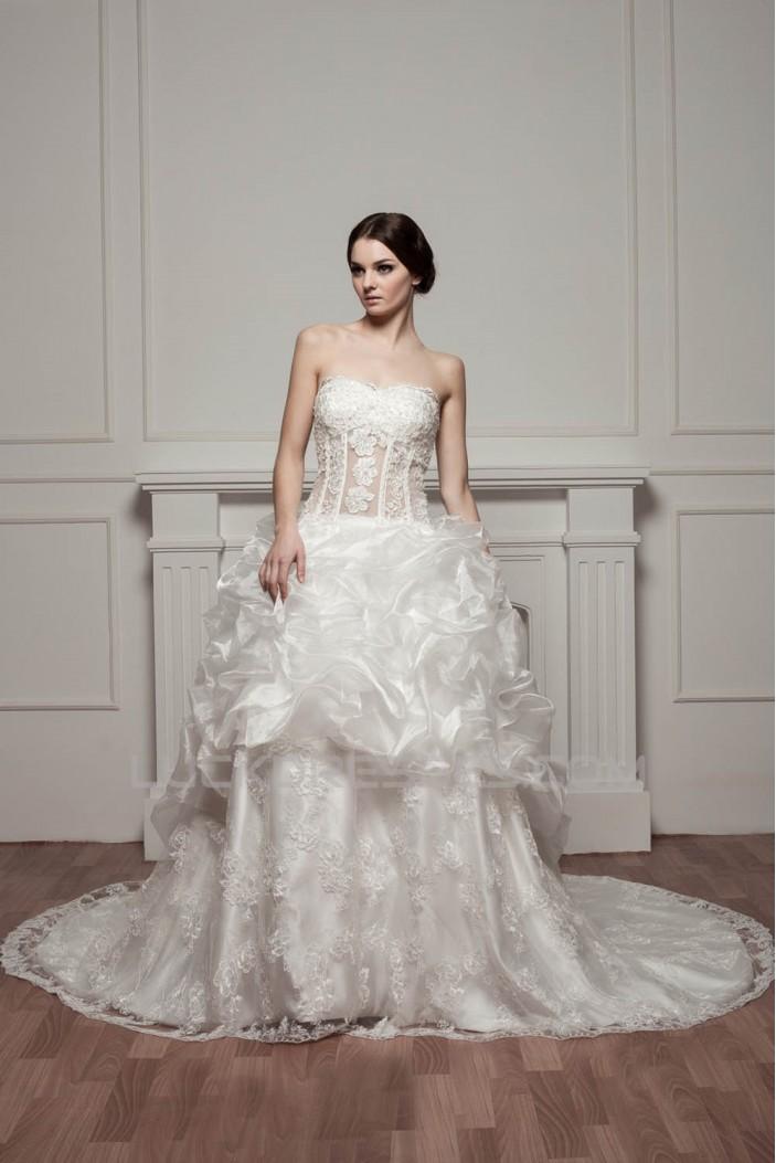 Sleeveless Sweetheart A-Line Satin Lace Beautiful Wedding Dresses 2030972