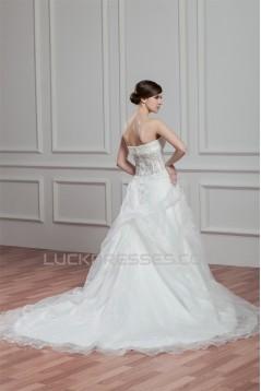 A-Line Satin Lace Beautiful Sleeveless Strapless Wedding Dresses 2030973
