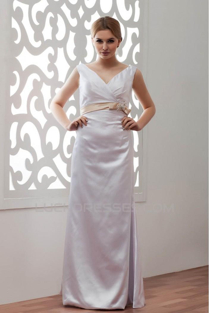Sleeveless V-Neck Elastic Woven Satin Sheath/Column Wedding Dresses 2030974