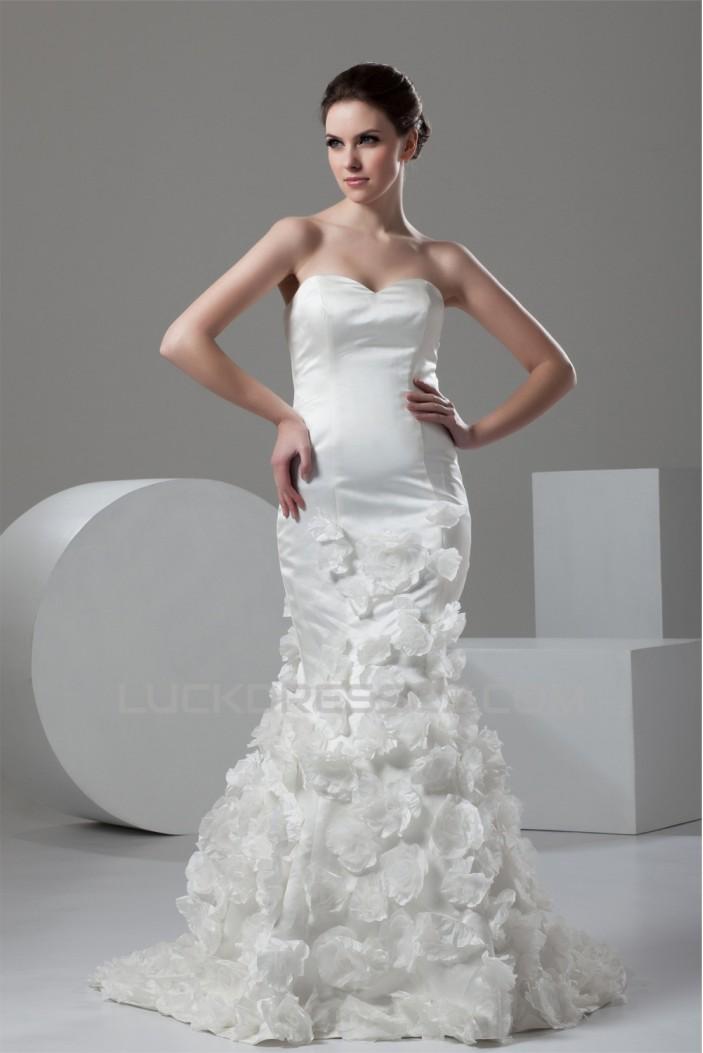 Trumpet/Mermaid Sweetheart Handmade Flowers Wedding Dresses 2030975
