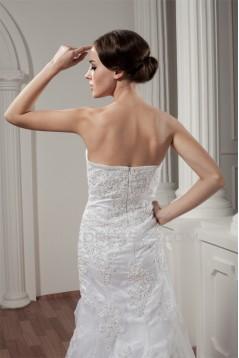 Soft Sweetheart A-Line Satin Sleeveless Lace Wedding Dresses 2030977