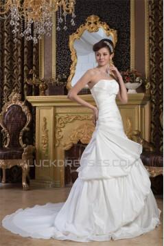 A-Line Strapless Satin Taffeta Sleeveless Wedding Dresses 2030978