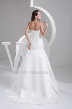 A-Line Strapless Sleeveless Satin Taffeta Beautiful Wedding Dresses 2030980