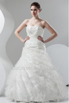 Soft Sweetheart Ball Gown Sleeveless Organza Taffeta Wedding Dresses 2030981