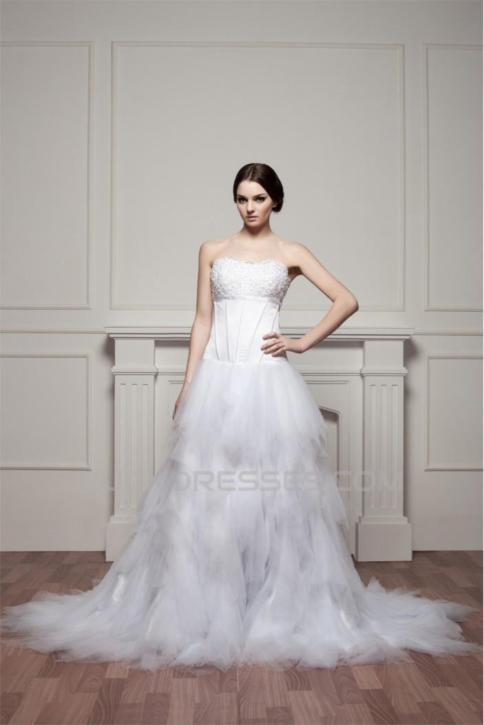 A-Line Strapless Princess Sleeveless Wedding Dresses 2030983