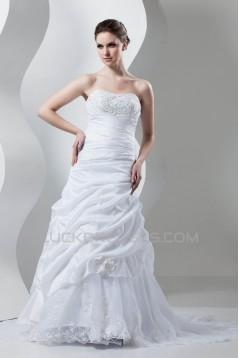 Soft Strapless Sleeveless Court Train Wedding Dresses 2030985