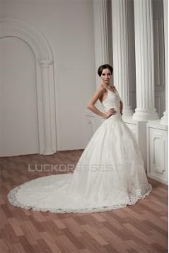 Spaghetti Straps A-Line Satin Sleeveless Lace Wedding Dresses 2030986