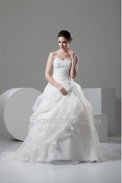 Spaghetti Straps Ball Gown Sleeveless Satin Organza Beaded Wedding Dresses 2030987