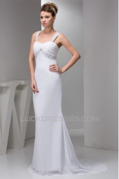 Beaded Straps Sleeveless Chiffon Sweep Train Wedding Dresses 2030988
