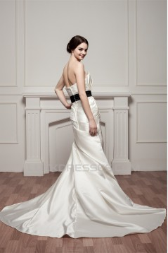 Trumpet/Mermaid Strapless Sleeveless Wedding Dresses 2030989