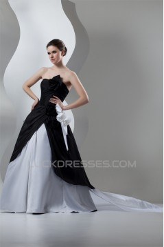 Strapless A-Line Sleeveless Satin Organza Black White Wedding Dresses 2030992