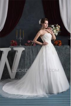 A-Line Strapless Satin Fine Netting Wedding Dresses 2030994