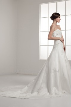 Strapless Satin A-Line Sleeveless Beautiful Beaded Wedding Dresses 2030996