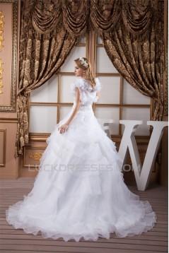 A-Line Strapless Satin Organza Princess Lace Wedding Dresses 2030997