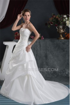 Strapless Satin Taffeta A-Line Sleeveless Lace Beautiful Wedding Dresses 2030999