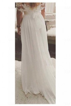 A-Line Off-the-Shoulder Lace Chiffon Wedding Dresses Bridal Gowns 3030003