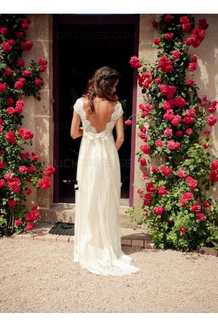 Sheath/Column V-Neck Lace Wedding Dresses Bridal Gowns 3030005