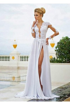 Long Sleeve High Slit Lace Chiffon Wedding Dresses Bridal Gowns 3030009