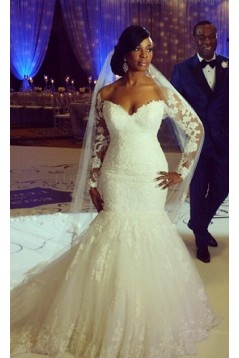Long Sleeves Mermaid Lace Wedding Dresses Bridal Gowns 3030012