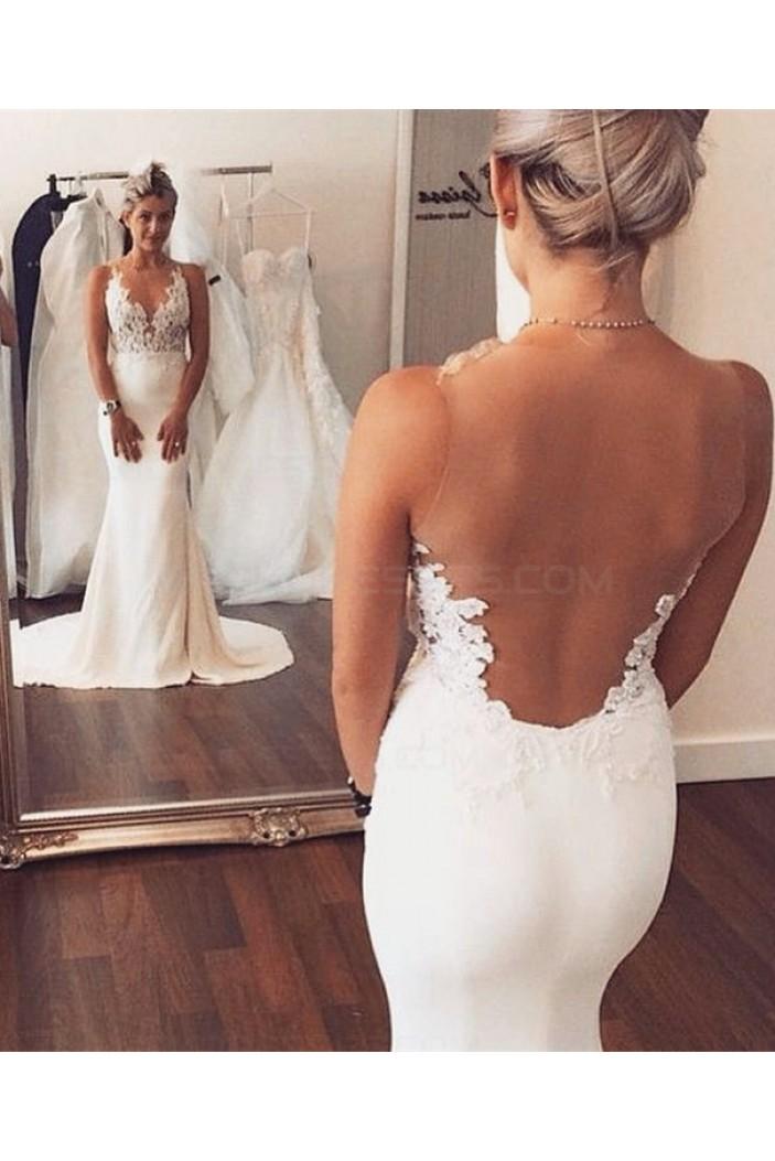 Mermaid Sheer Sleeveless Lace Beach Wedding Dresses Bridal Gowns 3030017