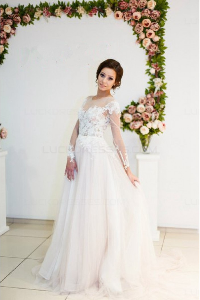 Sheer Long Sleeves Lace Tulle Wedding Dresses Bridal Gowns 3030018